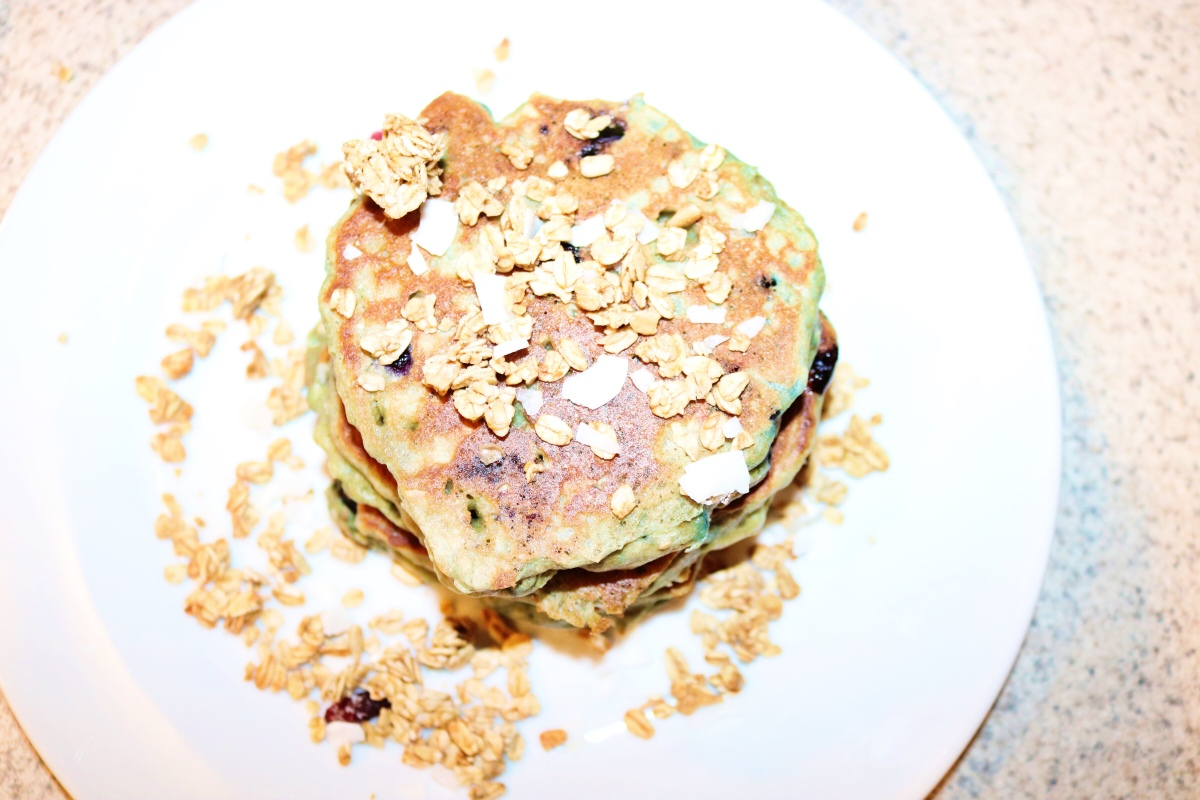 Whole Wheat Coconut Blueberry Granola Pancakes